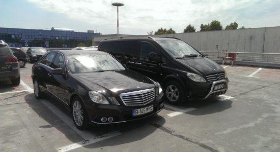 Mercedes Viano & E - class, left view , Henri Coanda ,  Otopeni,  airport.